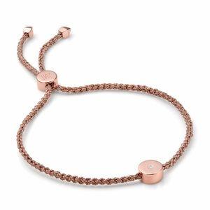 Monica Vinader Rose Gold Diamond Linear Bracelet
